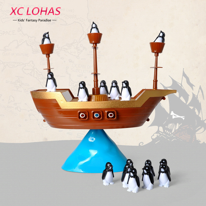 Creative Pirate Boat Balancing Game Penguins Balance Interactive Table Game Children Learning Educational Toys Kids Desk Toys novelty wall demolish game cartoon cat demolish wall toy interactive game desk toy children learning educational toys for kids