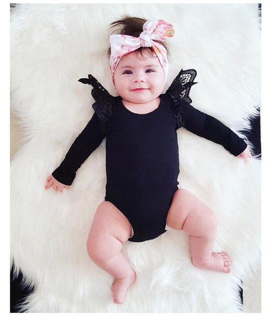 Ins Newborn Solid Baby Girls Cotton Rompers Summer For Party Popular Cute Lace Long Sleeve Kids Clothes Fit  6M-18M One Pieces