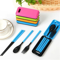 Travel Set Outdoor Camping Folding Tableware Portable Folding Knife Spoon Fork Dinner Cutlery Fork Knife Chopstick Plastic 5