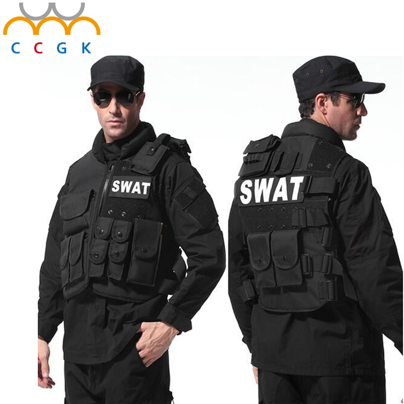 Military Tactical gear vest Paintball Game Bulletproof Molle Black vest cs Vest swat Police law enforcement colete tatico airsoft adults cs field game skeleton warrior skull paintball mask