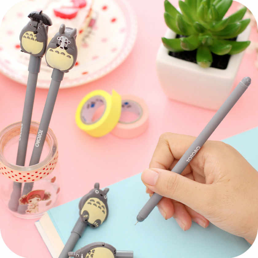1pcs Kawaii office gel pen Creative cute Totoro pattern school stationery Supplies Black ink 0.5mm Pen refill