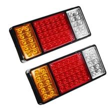 1 Pair 50 LEDs Car LED Tail Lights Stop Brake Lamp for 12V/24V Truck Trailer Warning Light Red Yellow White 1 pair 20 leds car rear tail light stop brake lamps warning light for truck trailer 12v red