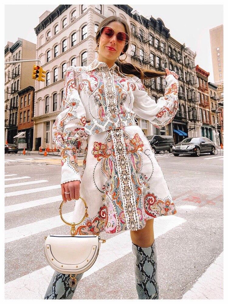Stampato a maniche lunghe vestito da partito del vestito del manicotto della lanterna delle donne di modo nuovo-in Abiti da Abbigliamento da donna su  Gruppo 1