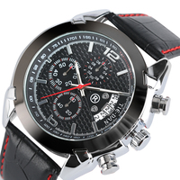 TIEDAN Quartz Men Male Luxury Date Wrist Watch Genuine Leather Band Analog Pin Buckle Casual Chronograph
