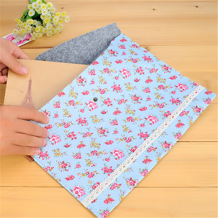 2017 New Vintage Small Flower Fabric A4 Document File Folder Floral Document Bag Novelty For School office Stationary HE119