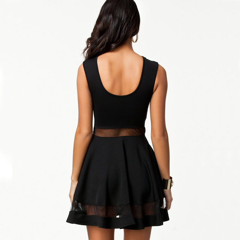5c103751f4 High Quality Elegant Vintage Black mesh Insert Skater Dress Sexy Peplum  Dress New Fashion Summer Dress Women Casual Dress New-in Dresses from  Women s ...