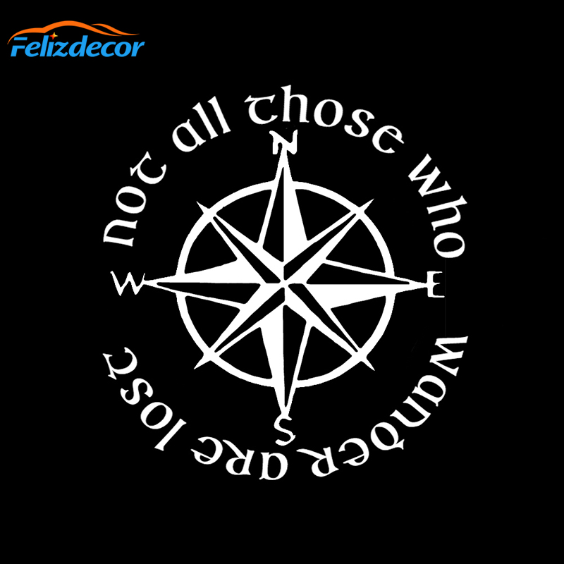 Not All Those Who Wander Are Lost Compass Car Sticker DIY Vinyl Decal Waterproof