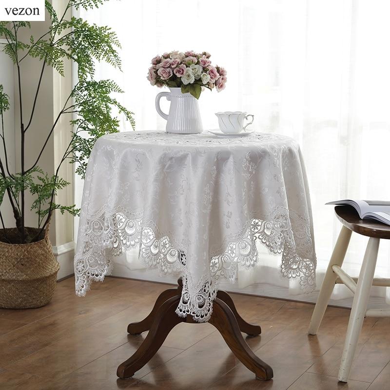 vezon熱い販売エレガントジャカードレーステーブルクロス用ウェディングパーティーホームラウンドテーブルリネン布カバーテキスタイル装飾タオル