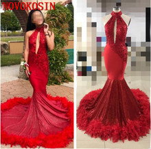 Plus Size Long Sleeve Mermaid Prom Dresses 2019 Sample Sequin Feather Train Formal Evening Dress High Neck Cut-Out Party Gowns