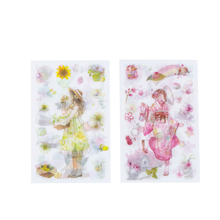 4 sheets/pack four seasons lovely girl and flower cartoon scrapbook diary scrapbooking stationery planner decorative stickers