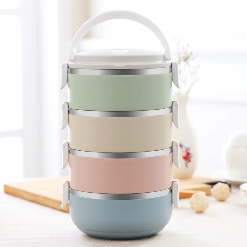 2/3/4 Layer Gradient Color Japanese Lunch Box For Food Bento Box Stainless Steel Container For Kids Portable Picnic School