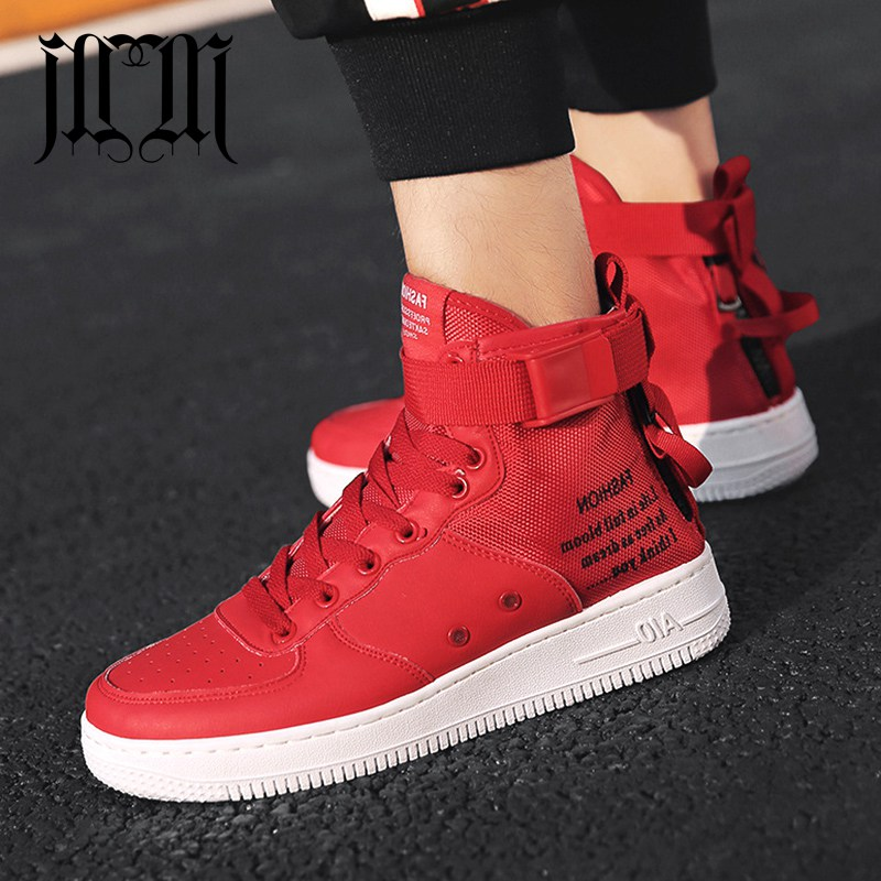 MumuEli Red White Gray Black 2019 High Top Quality Shoes Men Breathable Casual Designer Fashion Luxury Flat Brand Sneakers K50