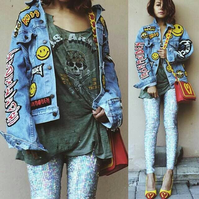 2015 New Street Style Women Smile Cartoon Patches Denim Jacket With