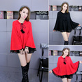 Cute Women Trench Coat Knitting Loose Students Cloak Outside Wear Coats Red Black 6047