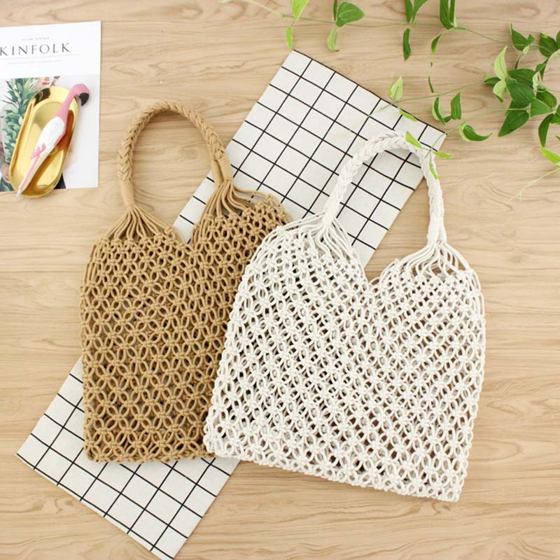 New Style Women Pure Manual Round Vine Cotton Rope Hollow Straw Fresh Woven Beach Bag without Lining Outdoor Sports Bags|City Jogging Bags| |  - title=