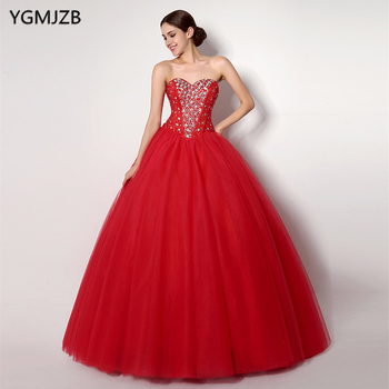 Cheap Red Quinceanera Dresses Ball Gown Sweetheart Beaded Crystal Tulle Vestidos De 15 Anos Sweet 16 Dresses Debutante Gown