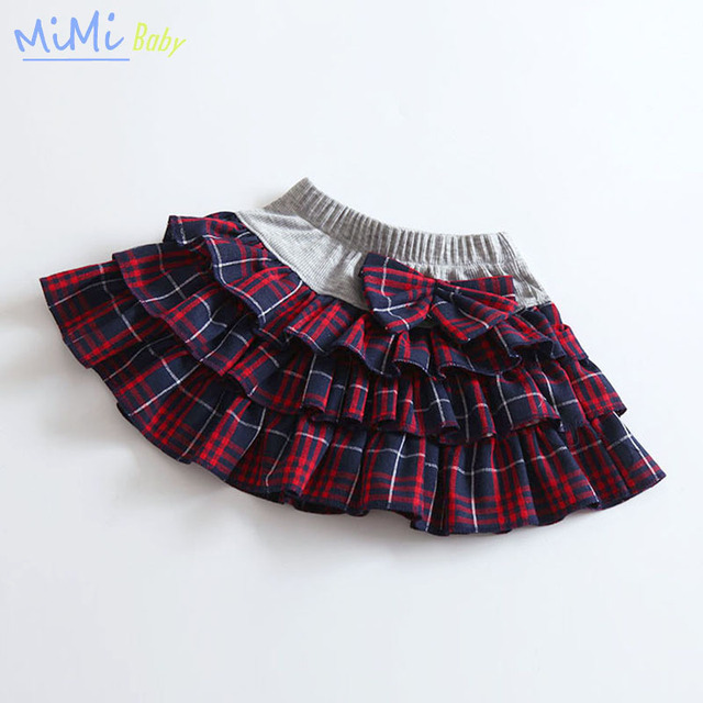 The New Spring 2017 Children's Clothes Cotton Lattice Skirts for Girls Flying Skirt Girl Bow Skirt for The  To Dance