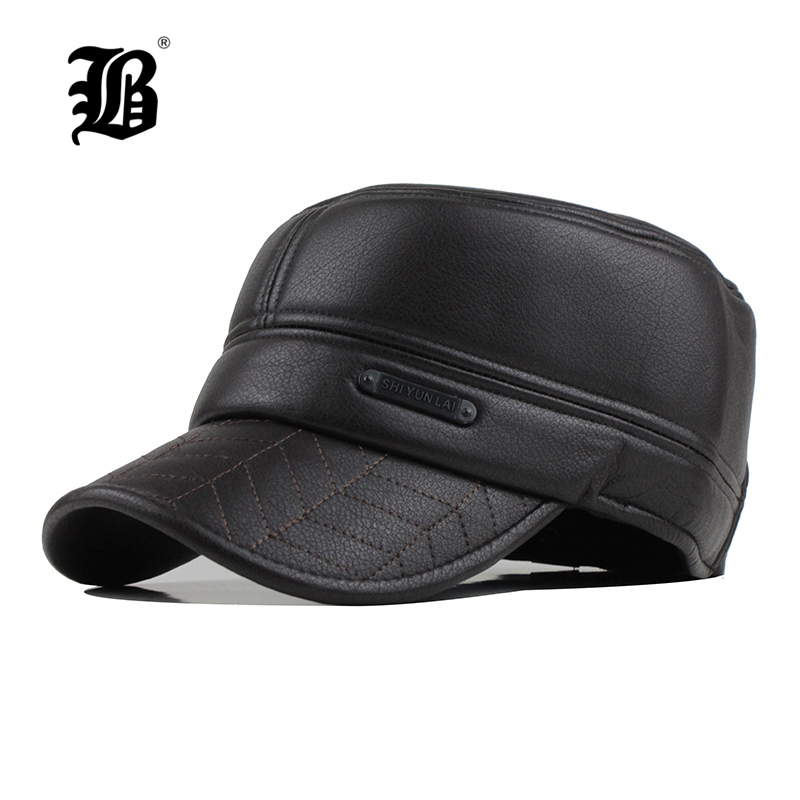 381dda458e7 2018 Mens leather hat winter warm military style baseball cap with ear  flaps russia flat top hats for men casquette