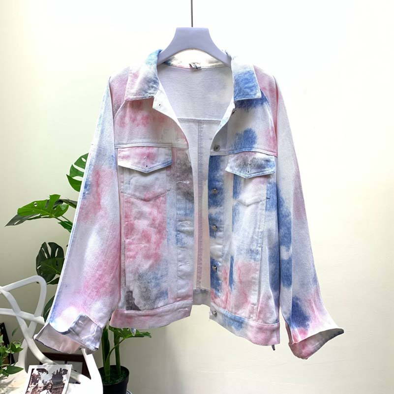 NiceMix European Denim Jacket Spring Autumn 2019 New Loose Bat Sleeve Graffiti Long Cowboy Girl Student Jean Coat Women
