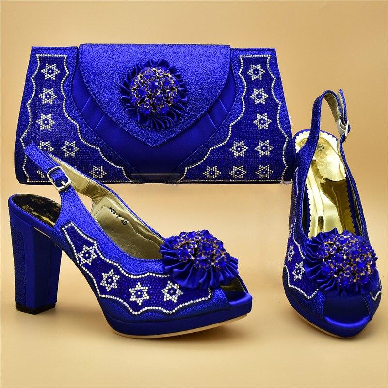 Correspondre fuchsia Avec À Pour Et Nigérian Ensemble De Sac Arrivée Italien Femmes champagne yellow Nouvelle Sacs Chaussures Set Partie Bleu Mariage pYHnq