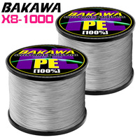 BAKAWA braided fishing line 8 braid PE multifilamento fly carp line 1000M sea рыбалка fishing cord tresse peche GRAY
