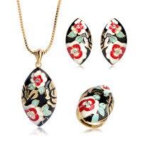 Blucome Hohe Qualität Dubai Schmuck Sets Mischen Farbe Emaille Blume Oval Anhänger Halskette Ohrringe Ring Frauen Party Bijouteries Anel