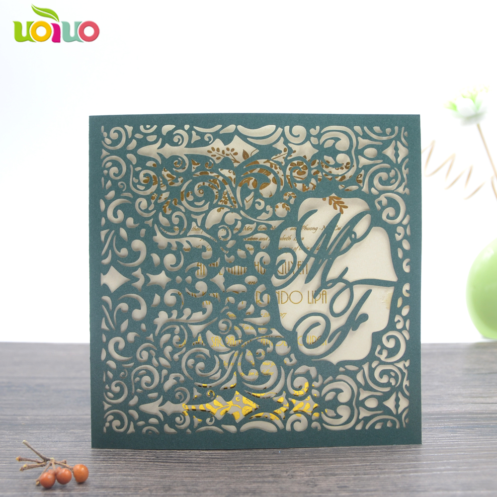 Unique free name logo emerald green laser cut wedding invitation cards handmade paper lace cards printed available 50pcs