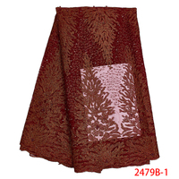 2019 designs red latest nigerian african net bridal fabric lace french net lace with pearls and stones QF2479B 1