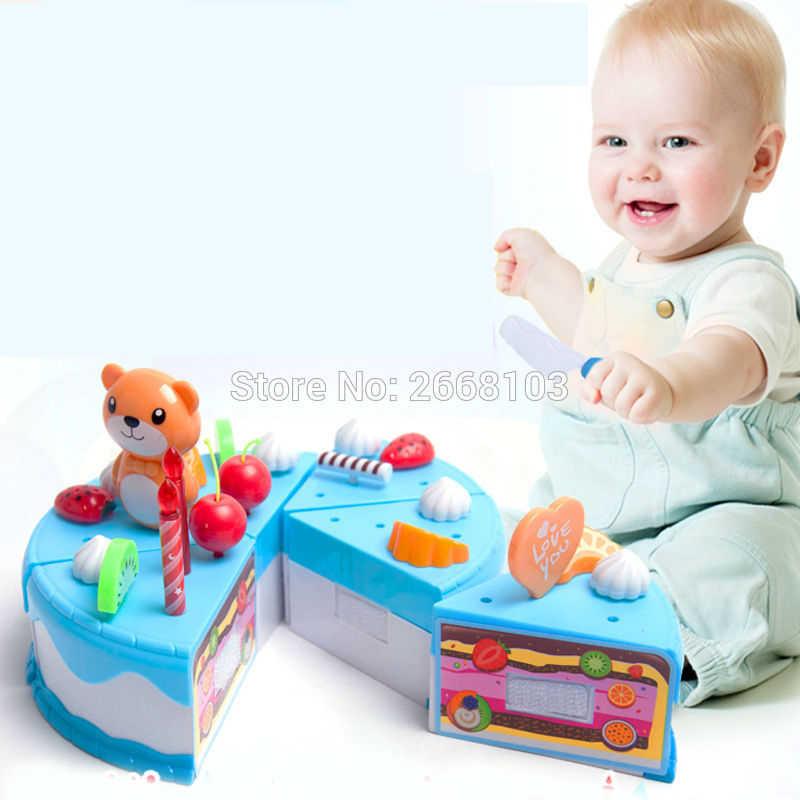 Kuchen Spielzeug 55 Teile/satz Frucht Mädchen Kinder Haus Küche Pretend Spielen Lebensmittel Geburtstag Kuchen DIY Pädagogisches schneiden spielzeug für Kinder geschenke