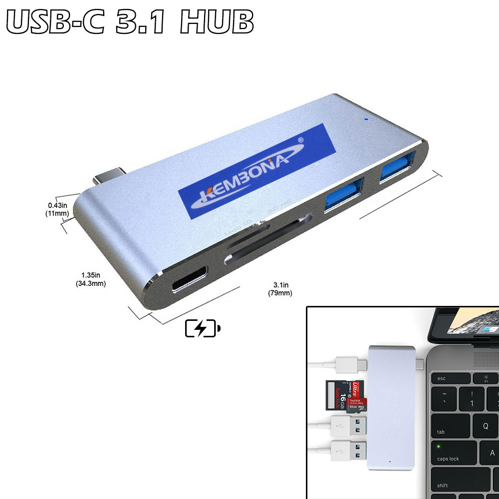 KEMBONA 5 in 1 USB Hub 3.0 Type C With 2 3.0 USB Type C SD TF Card Reader Charging Interface for MacBook Pro Type-C HUB