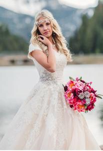 Image 4 - Neue Ballkleid Spitze Tüll Modest Brautkleider Mit Cap Sleeves Schatz Country Western Brautkleider Modest Ärmeln