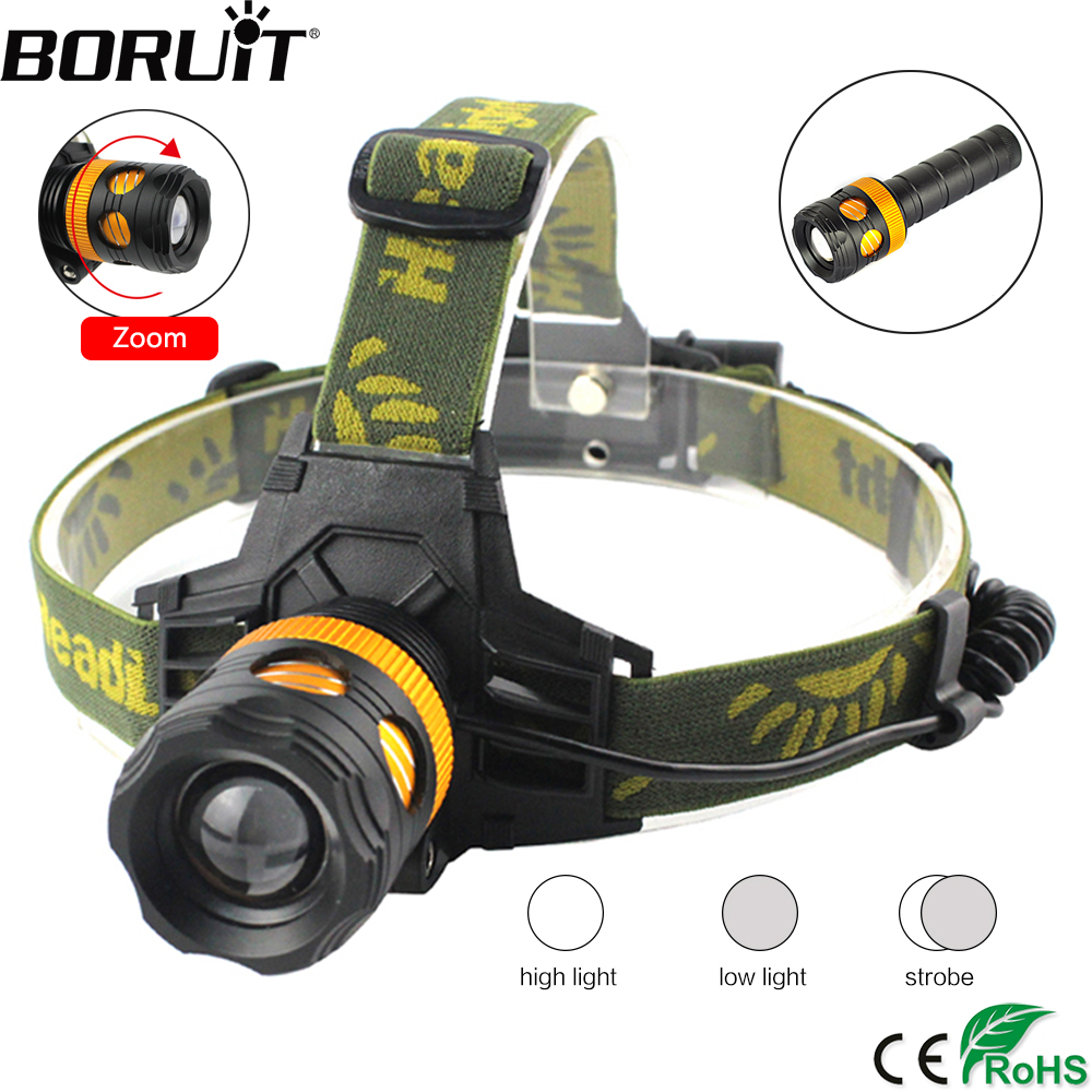 BORUiT K13 XML T6 LED Headlamp Zoomable 3-Mode Headlight DC Charger Head Torch Fishing Camping Flashlight by 18650 Battery 5 t6 led headlight 30000 lumens 4 mode zoomable led headlamp rechargeable head lamp flashlight 2 18650 battery ac dc charger box