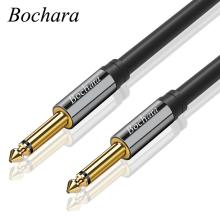 Bochara Guitar instrument Cable 1/4 Inch 6.35mm TS to 6.35mm TS OFC Audio Cable Foil+Braided Shielded 2m 3m 5m 10m kmise guitar cable instrument cord straight right angle 33ft ofc braided low noise for electric guitar