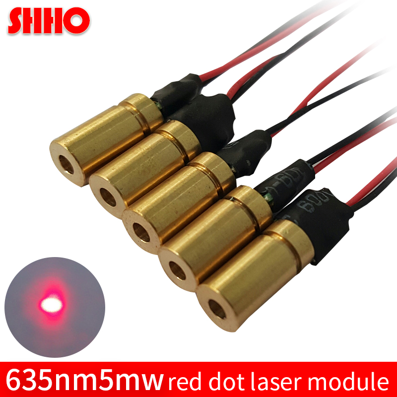 High quality brass 635nm 5mw red dot laser module size 6*18mm laser focus locator red point light intelligent robot accessories