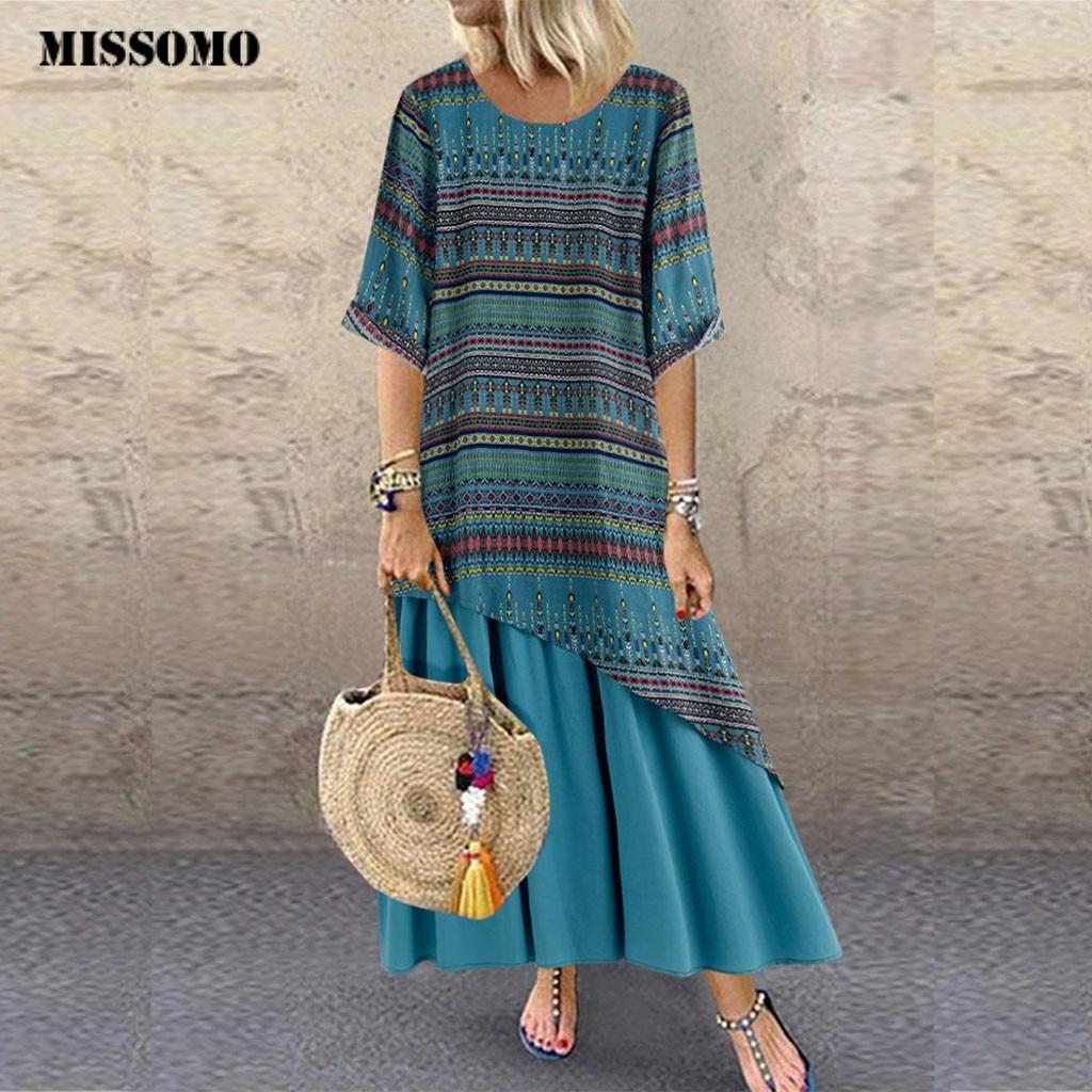 MISSOMO 5XL Women Vestidos Vintage Print Patchwork O-Neck Summer Print Sleeveless Plus Size Dress Casual Loose Maxi Dress Women