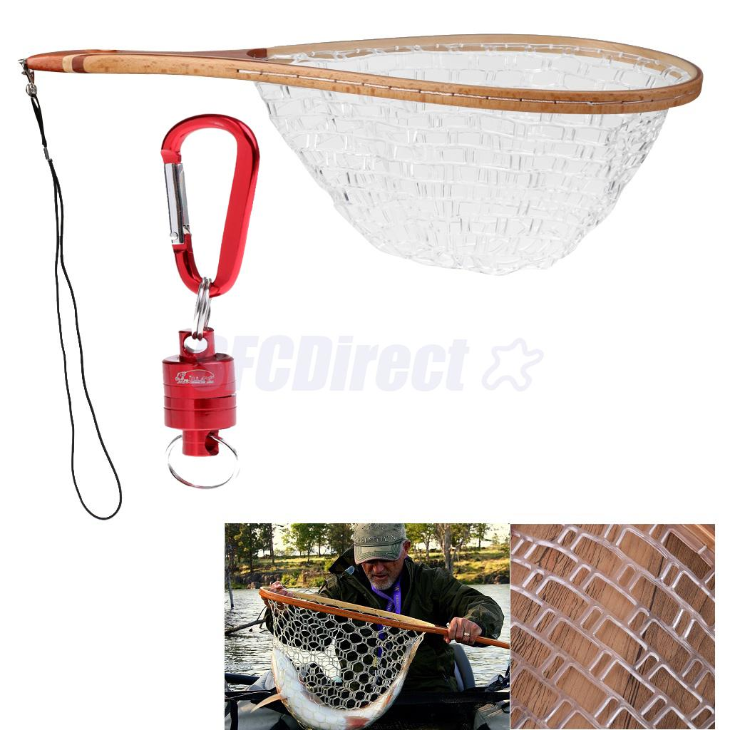 Fishing Landing Nets Wooden Handle Rubber Mesh + Fly Fishing Strong Pull Release Magnetic Net Clip Keeper Holder Gear Red lawaia 25m long 1m high casting nets fishing nets pull pull net farms railing anti bird netting fish ponds dragnet