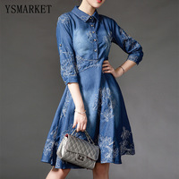 2017 European Embroidery Denim Dress Casual A Line Buttons Women Elegant Print Shirt Dresses Summer Half