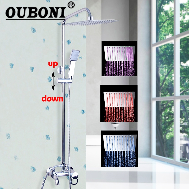 New Arrival LED Rainfall Bathroom Shower Set Faucet Hangers Polish Chrome Mixer Tap Single Handles Wall Mounted
