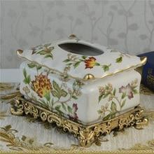 wedding decoration European paper towel box high-grade ceramics vintage paper drawer table relief decoration