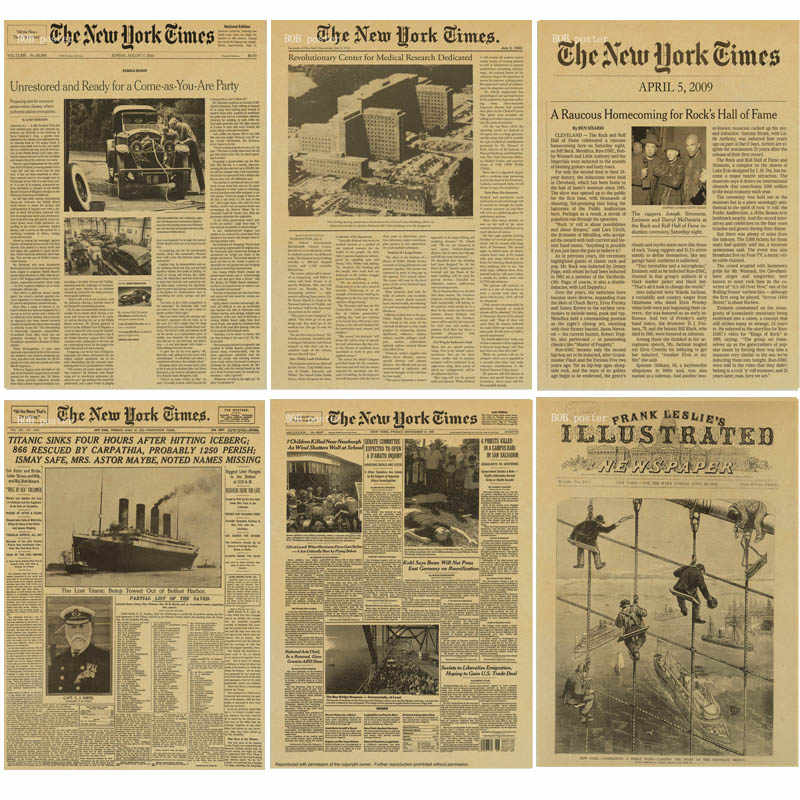 New York Times poster Retro kraft paper vintage poster Historical Moment Poster Decorative Wall Sticker