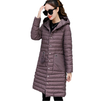 2017 Winter Women S New Korean Slim Was Thin And Light Cotton Padded Coat Long Section