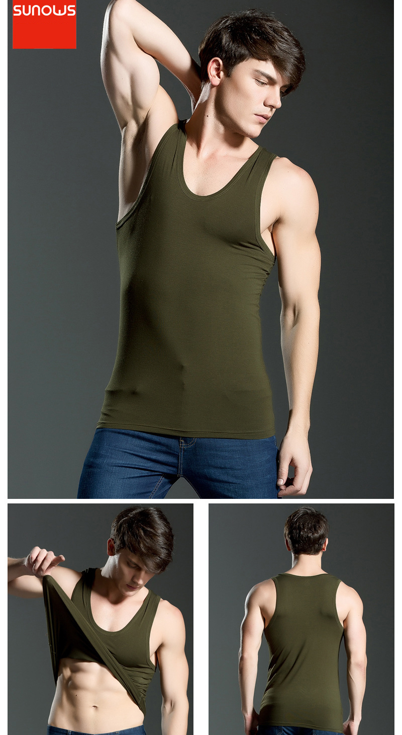 Men's Close-fitting Vest Fitness Elastic Casual O-neck Breathable H Type All Cotton Solid Undershirts Male Tanks 18
