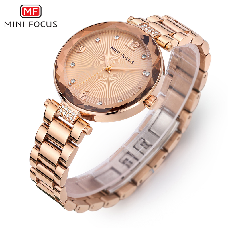 MINIFOCUS Women Watches Waterproof Brand Luxury Fashion Casual Ladies Quartz Watch Rose Gold Stainless Steel And Leather Strap in Women 39 s Watches from Watches