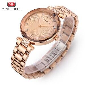Image 5 - Mini foco relógios femininos à prova dwaterproof água marca de luxo moda casual senhoras relógio de quartzo rosa ouro aço inoxidável e pulseira de couro