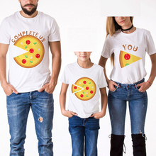 Family Look Matching Outfits T- Shirt Kid Creative Pizza Printed Father And Son Mother Daughter Clothes Cotton Short Sleeve Tees russe guide de conversation et dictionnaire фр р