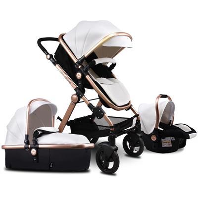 Pu cuir alliage d'aluminium cadre Babyfond haut paysage pli chariot 3 en 1 quatre roues chariot EU pliant bébé poussette nouveau-né