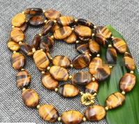 Beautiful natural Tiger Eye 13x18 mm oval jewelry necklace 36 AA