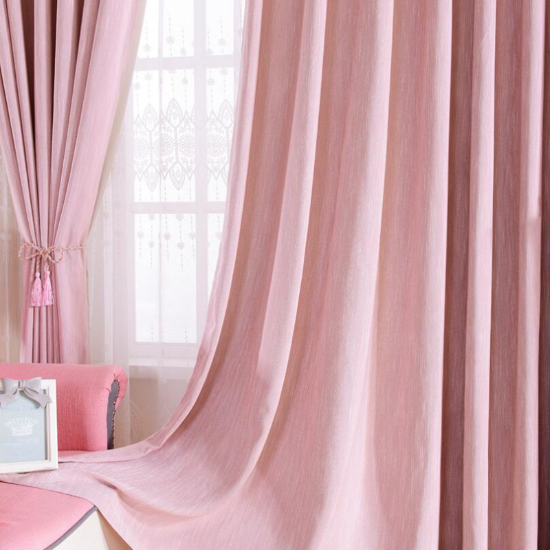 Light Pink Curtains Soild Embroidered Voile Modern Window Living ...