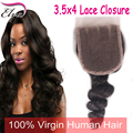 7A Brazilian Loose Wave Lace Closure,3.5*4 Lace Closure Bleached Knots Free Middle 3 Part Lace Frontal Closure For Black Woman