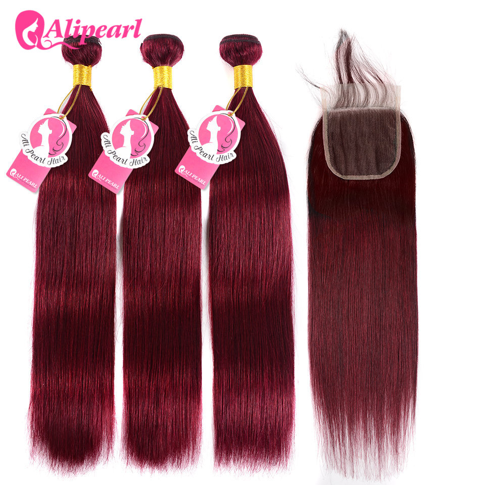 Human Hair Weaves Hair Extensions & Wigs Nice Ali Pearl Hair 99j Bundles With Closure Human Hair Burgundy Brazilian Straight Hair 3 Bundles With Closure Remy Hair Extension Be Friendly In Use